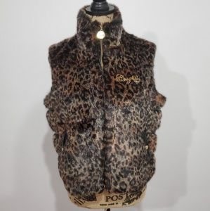 COOGI faux fur animal print vest